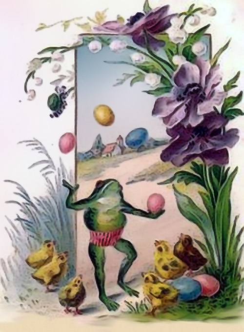 Frog Juggling Colorful Eggs
